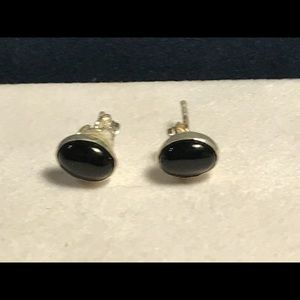 Delicate Sterling and Onyx Post Earrings, New